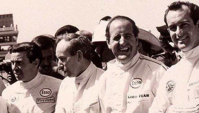 Da esq. para a dir.: Jim Clark, John Surtees, Denny Hulme e Bondurant