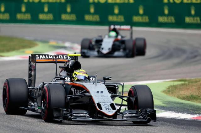 Durante a corrida, Pérez andou à frente de Hulkenberg: ambos terminaram no top 10 de Monza